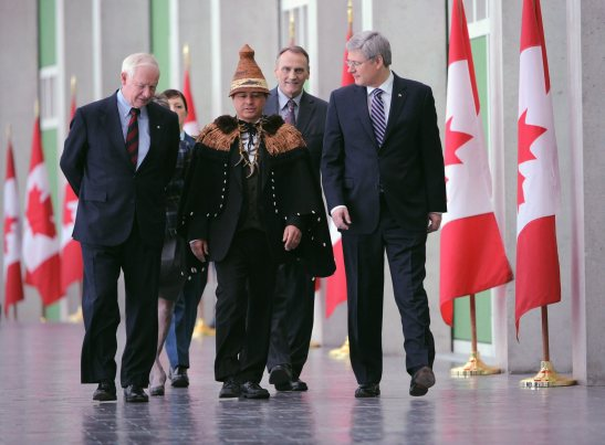 Harper, Johnston, and Atleo meet one year ago.