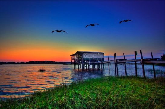 Old Stilt House at Cedar Key Bayou Durign Sunset