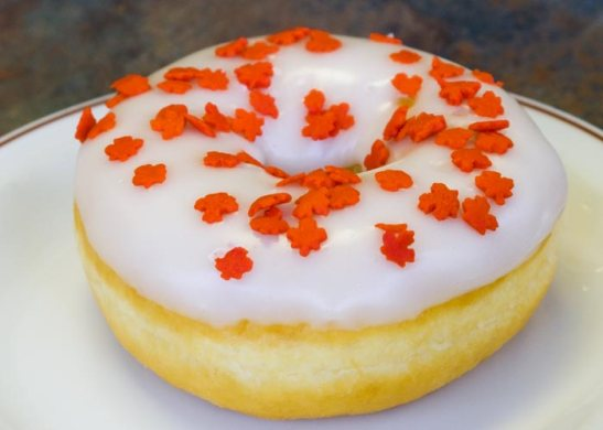 The Maple Leaf donut, available seasonally at Tim Hortons's discretion.